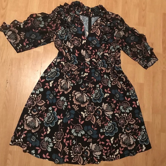 7d1cc60018ba Eloquii Dresses   Skirts - Eloquii fit and flare floral ruffle tie-neck  dress